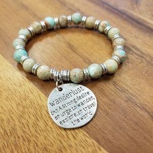 """8 mm Jasper & """"Wanderlust"""" charm bracelet"""